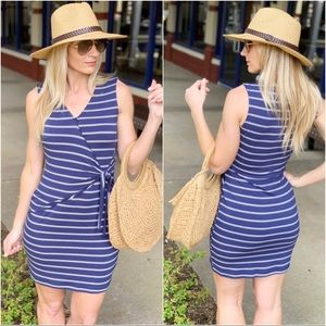 Navy striped faux wrap dress